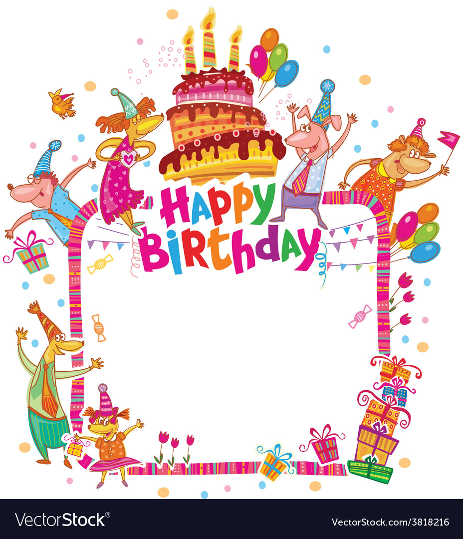 Happy birthday card with place for text vector | Price: 1 Credit (USD $1)