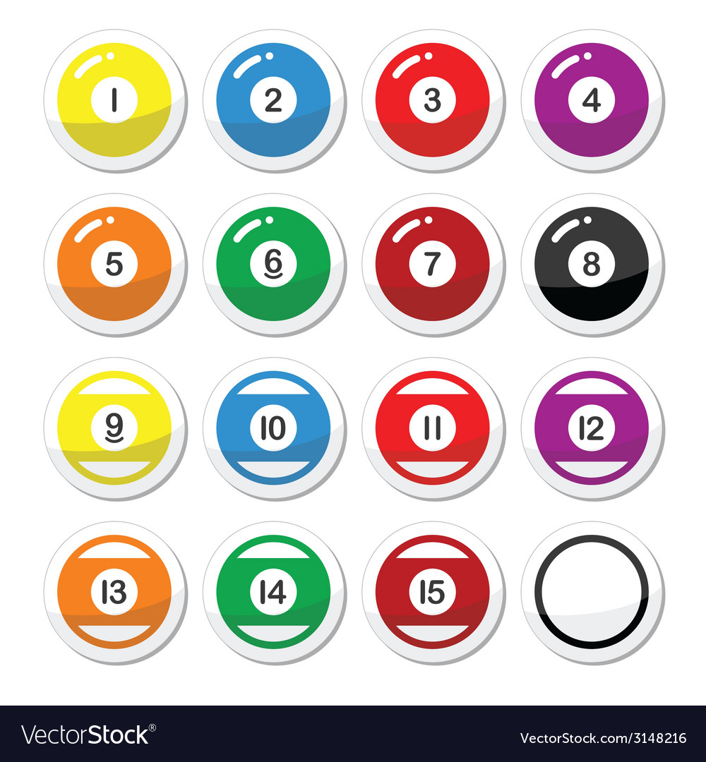 Pool ball billiard or snooker ball icons set vector | Price: 1 Credit (USD $1)