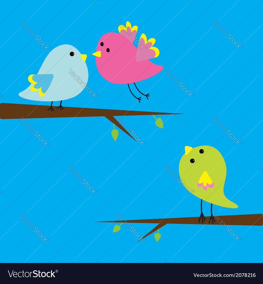 Three cartoon birds card vector | Price: 1 Credit (USD $1)