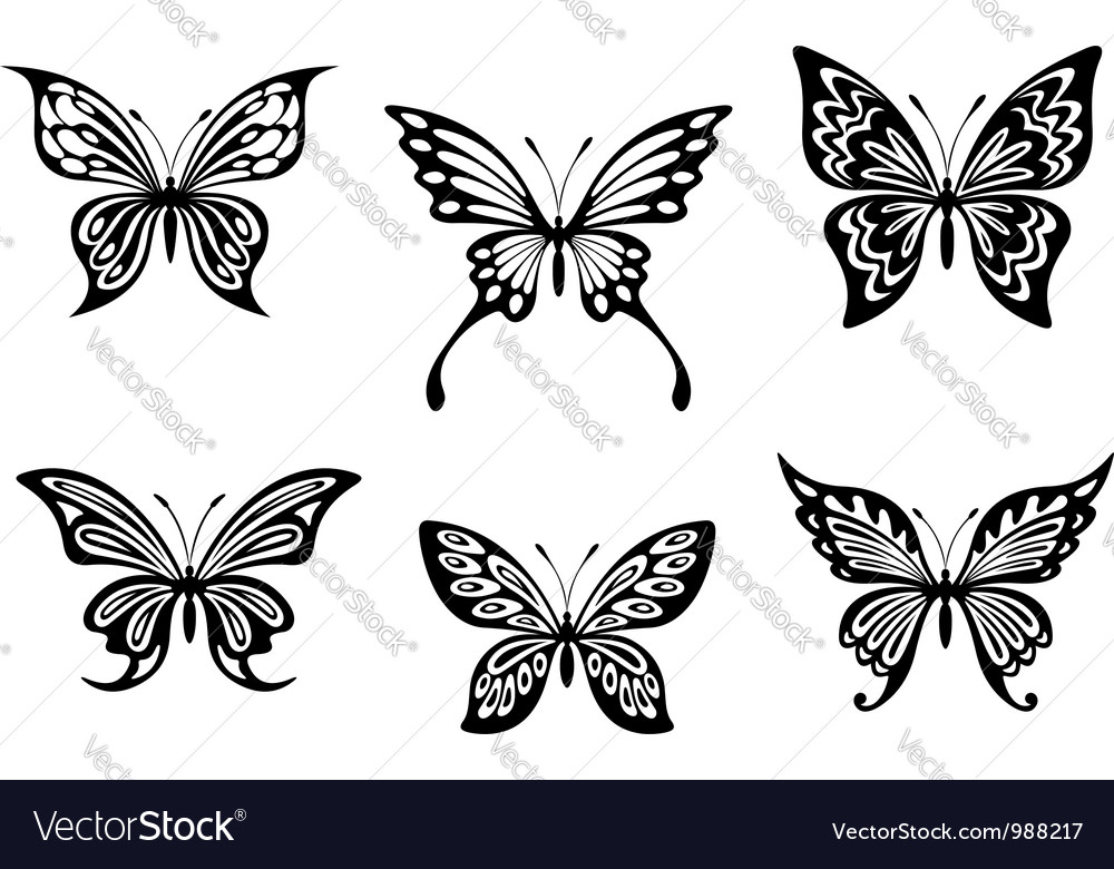 Black butterfly tattoos vector | Price: 1 Credit (USD $1)