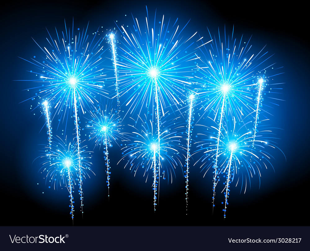 Blue fireworks vector | Price: 1 Credit (USD $1)