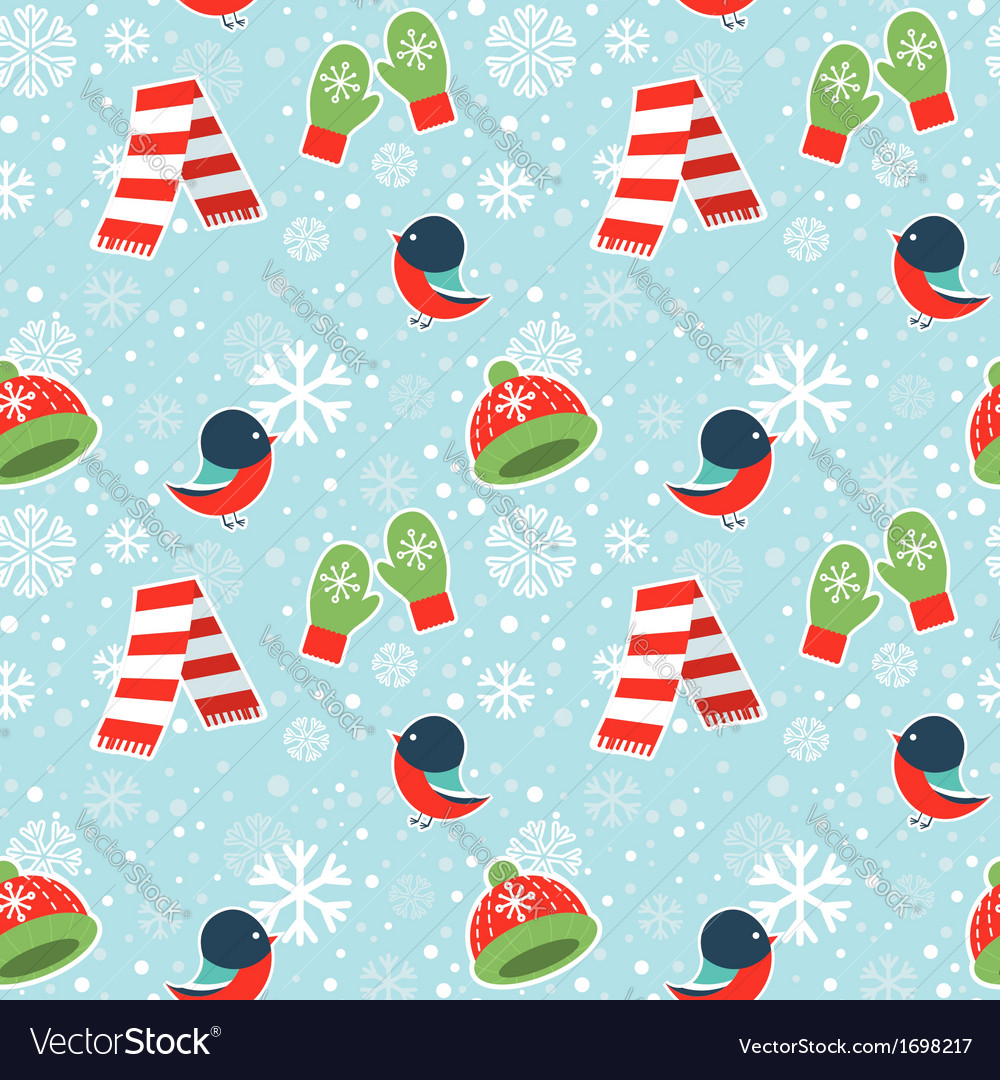 Cute winter seamless pattern with warm clothes vector | Price: 1 Credit (USD $1)