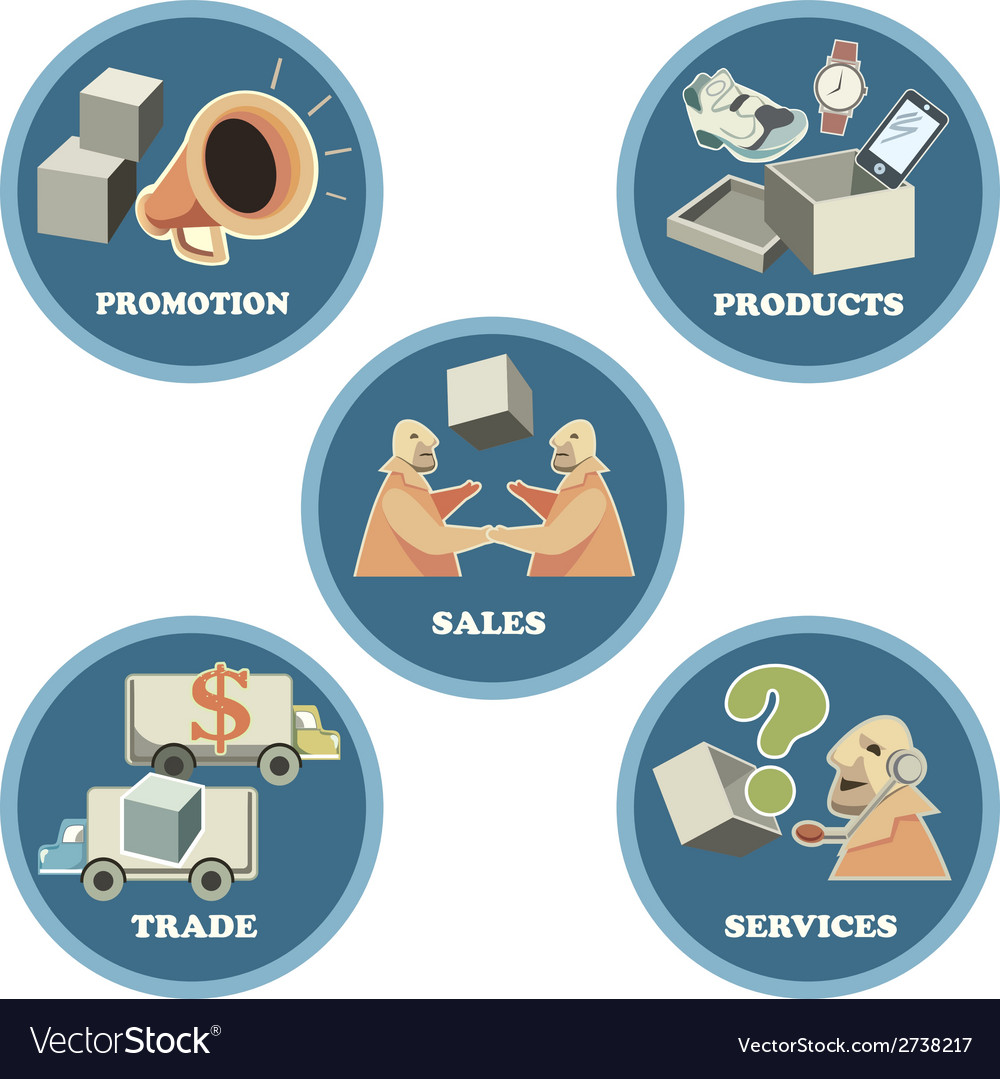 Icon set for business trade commerce vector | Price: 1 Credit (USD $1)