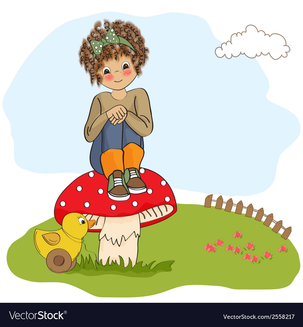 Pretty young girl sitting on a mushroom vector   Price: 1 Credit (USD $1)