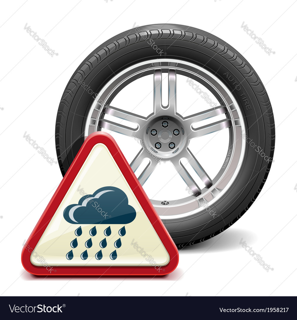 Rain tire with sign vector   Price: 1 Credit (USD $1)