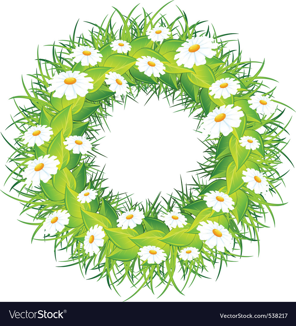 Round wreath of flowers green leaves on white back vector | Price: 1 Credit (USD $1)