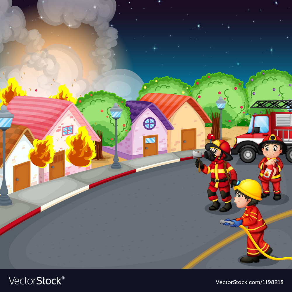 A fire at the village vector