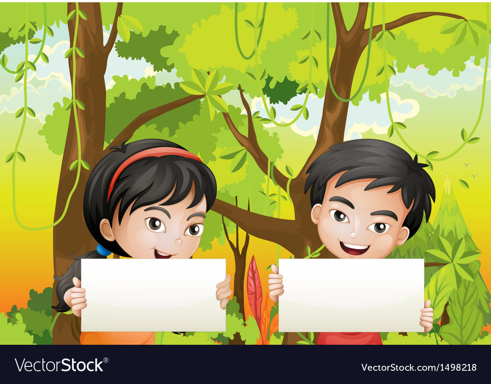 A girl and a boy with empty signages vector   Price: 1 Credit (USD $1)