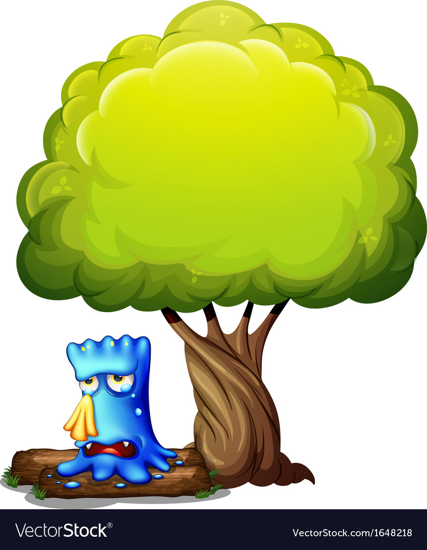 A monster crying under the tree vector | Price: 1 Credit (USD $1)