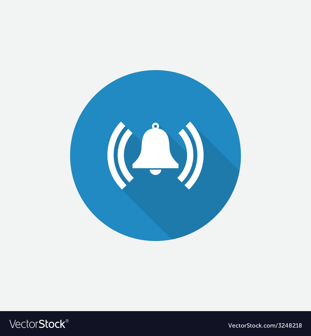 Alarm bell flat blue simple icon with long shadow vector | Price: 1 Credit (USD $1)