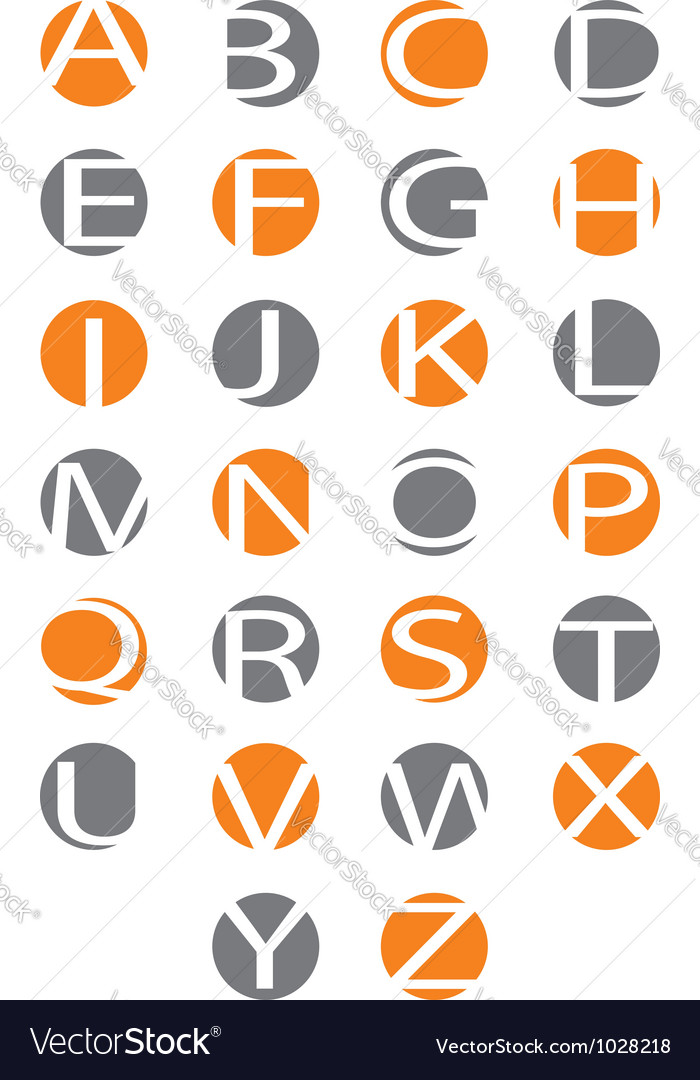 Alphabet letters carved in the circle vector | Price: 1 Credit (USD $1)