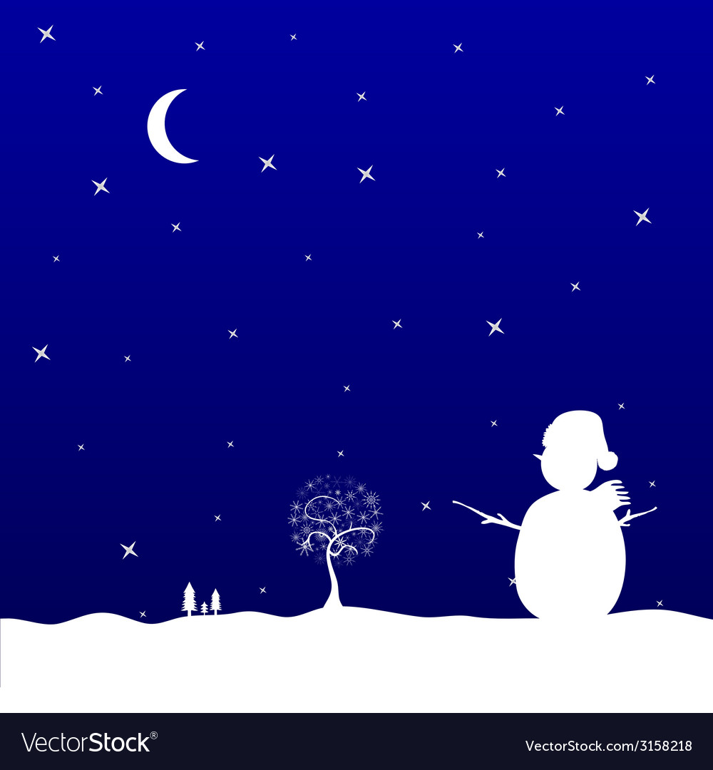 Christmas eve with snowman vector | Price: 1 Credit (USD $1)