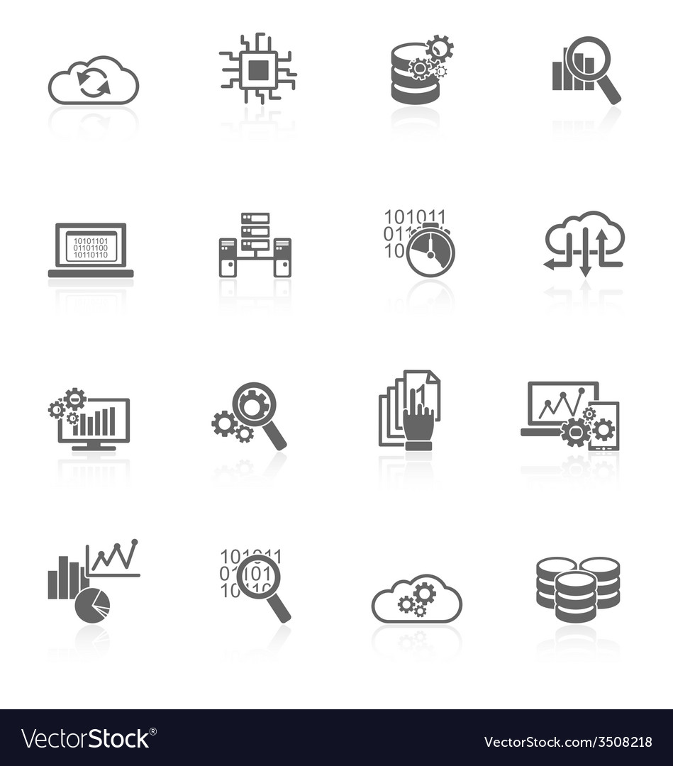 Database analytics icons black vector | Price: 1 Credit (USD $1)