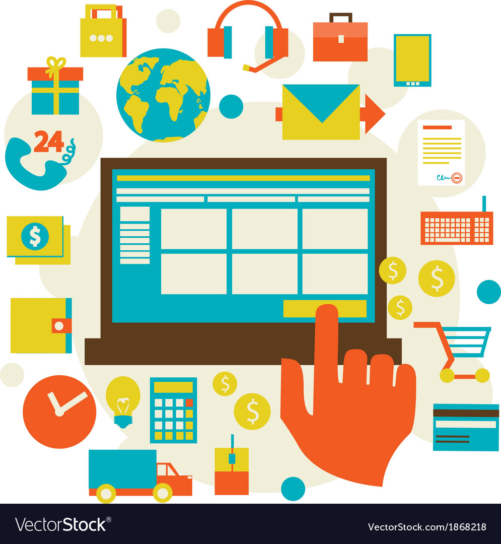 Electronic commerce and various shopping symbol e vector | Price: 1 Credit (USD $1)