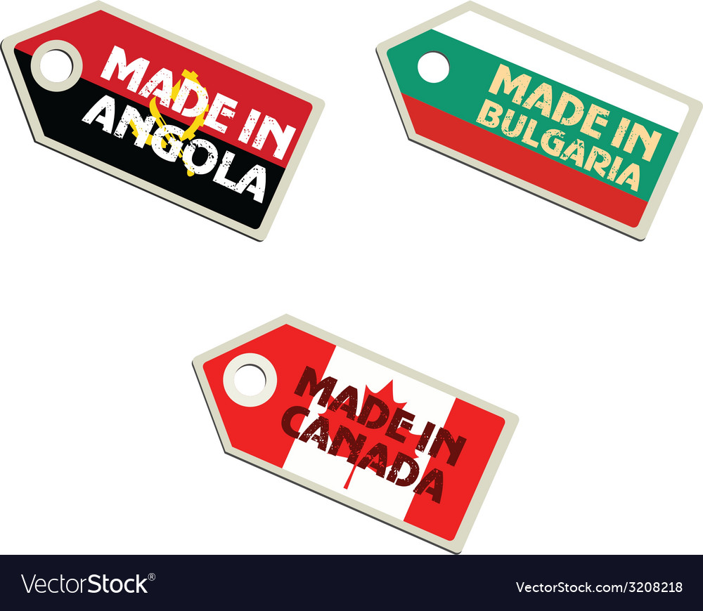 Label made in angola bulgaria canada vector | Price: 1 Credit (USD $1)