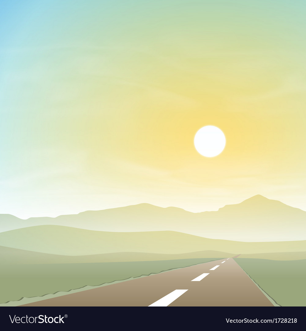 Misty landscape with road vector   Price: 1 Credit (USD $1)