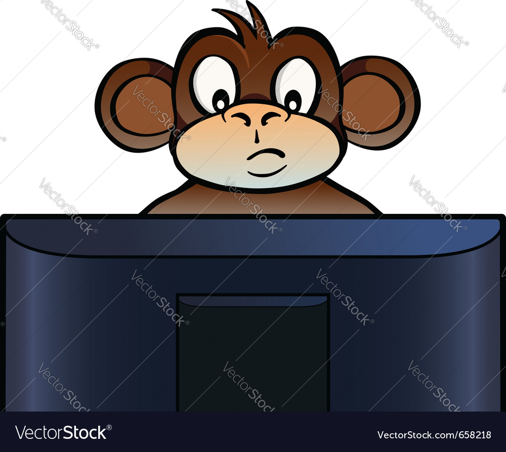 Monkey behind screen vector | Price: 1 Credit (USD $1)
