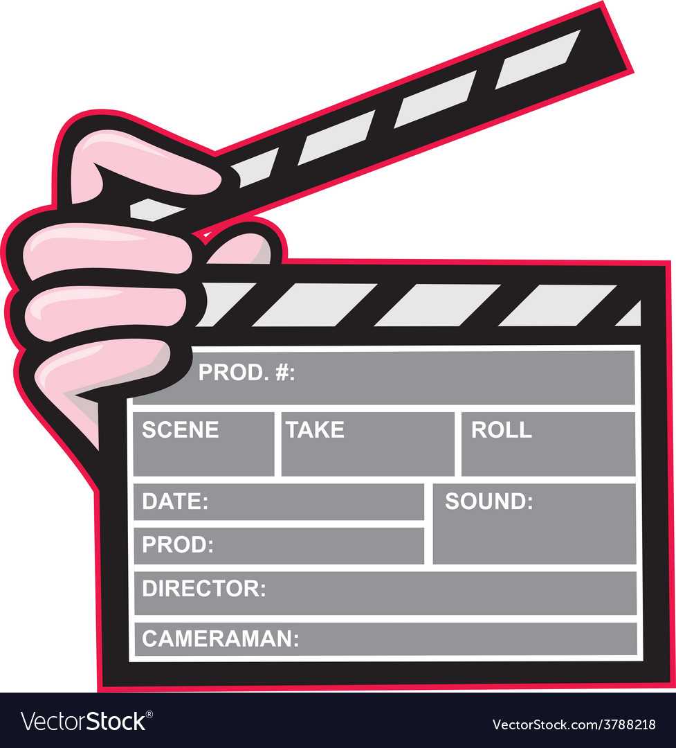 Movie clapboard hand cartoon vector | Price: 1 Credit (USD $1)