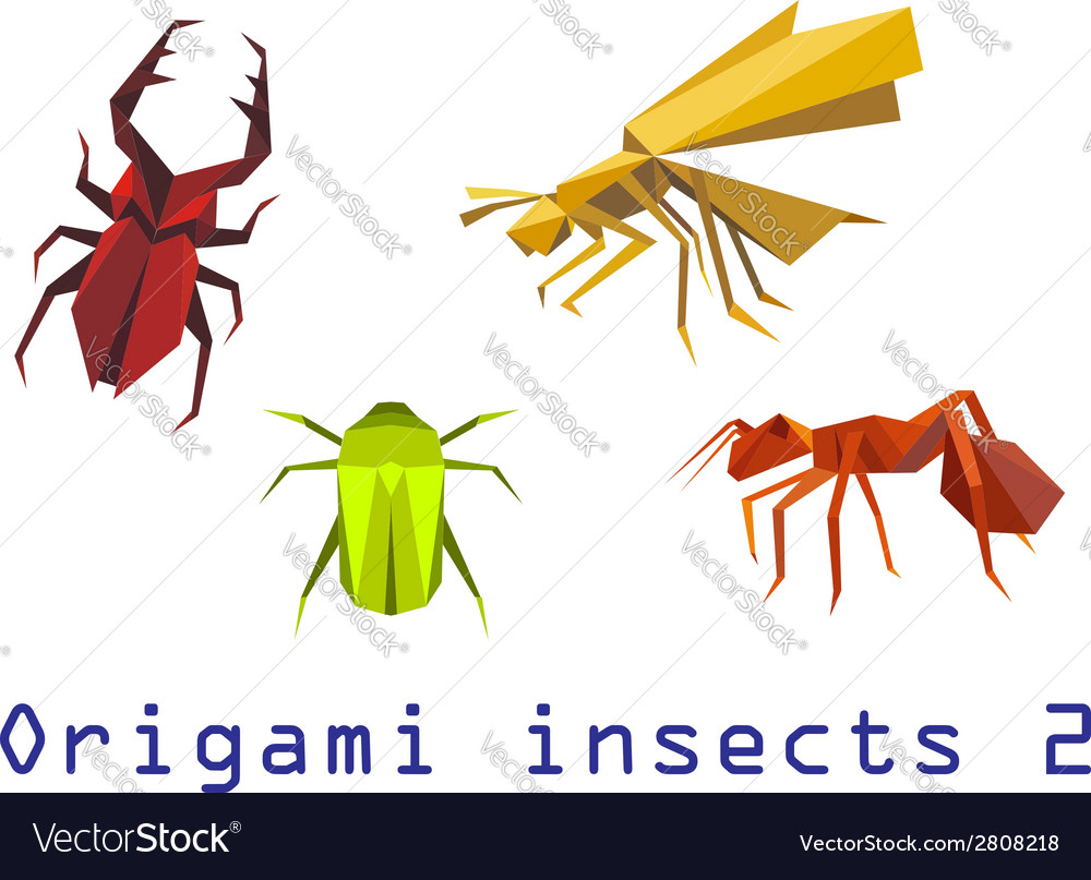 Origami insects set vector | Price: 1 Credit (USD $1)