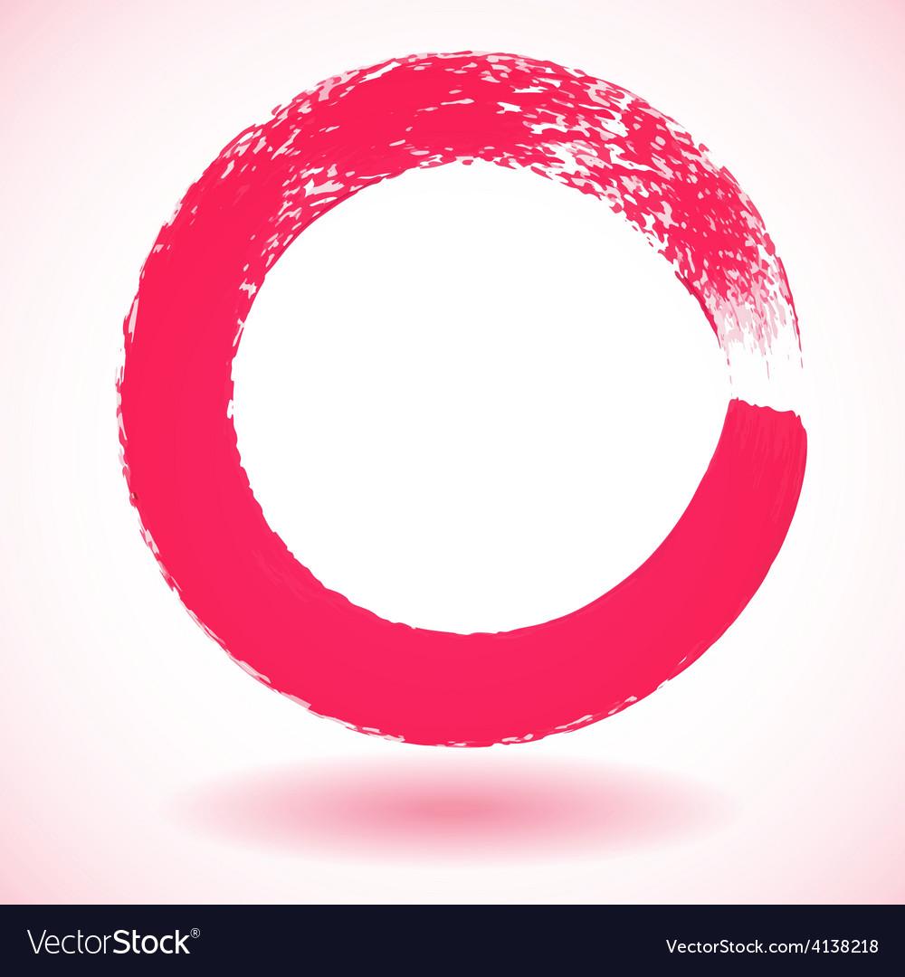 Pink paintbrush circle frame vector | Price: 1 Credit (USD $1)