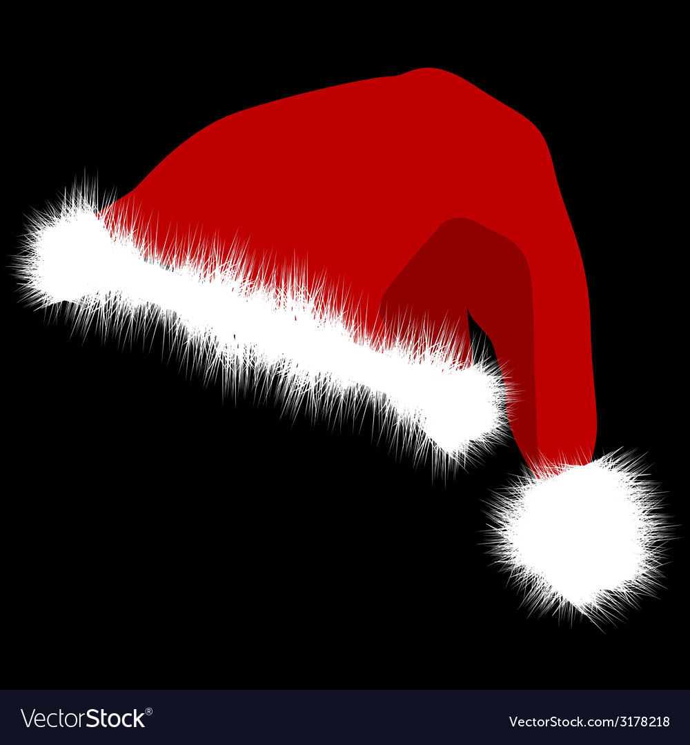 Santa claus red hat isolated on black background vector   Price: 1 Credit (USD $1)