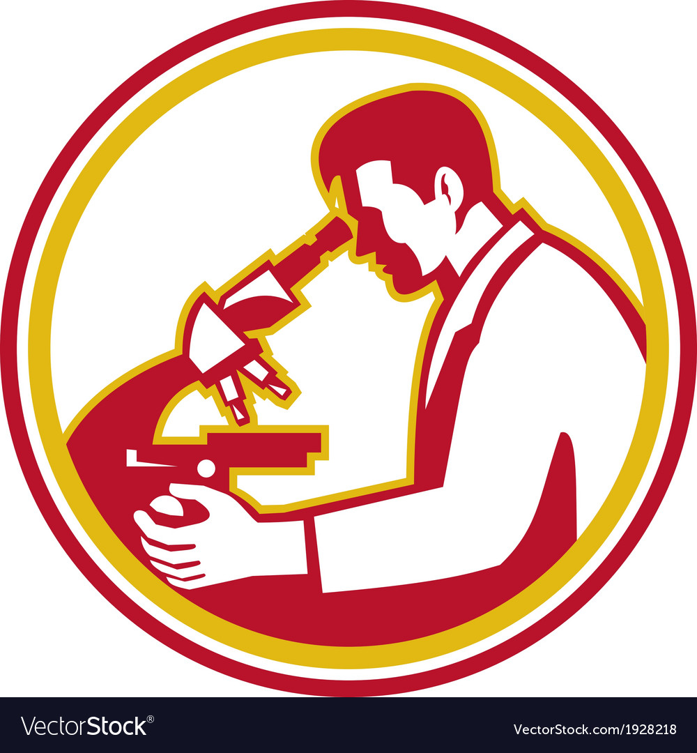 Scientist lab researcher chemist microscope retro vector | Price: 1 Credit (USD $1)