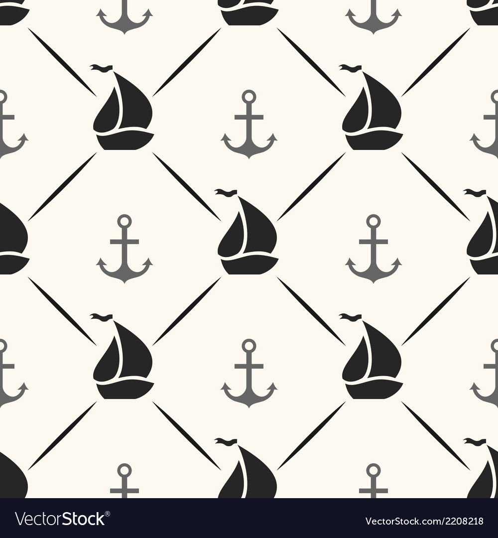 Seamless pattern of anchor sailboat shape and line vector | Price: 1 Credit (USD $1)