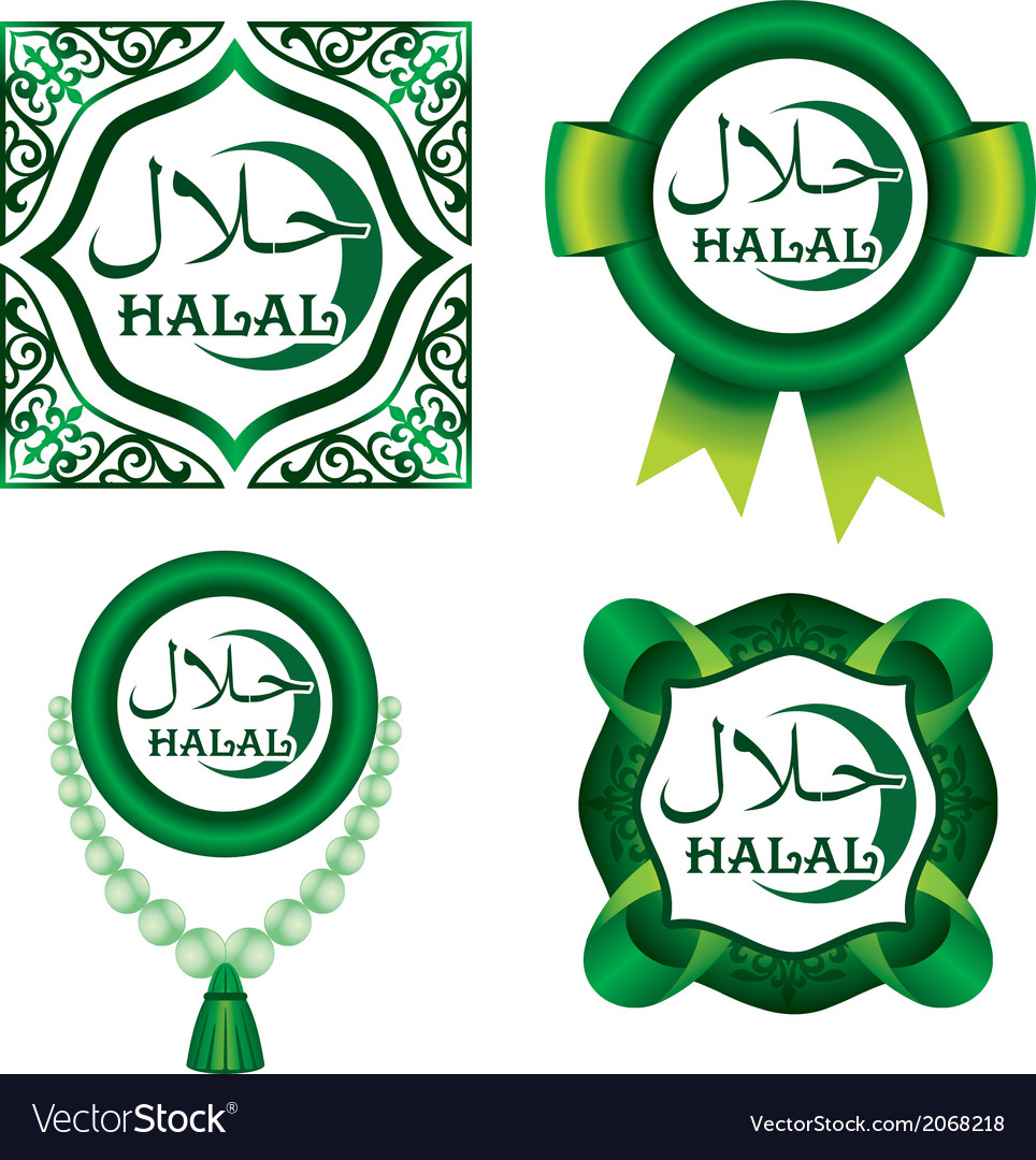Set of halal signs vector | Price: 1 Credit (USD $1)