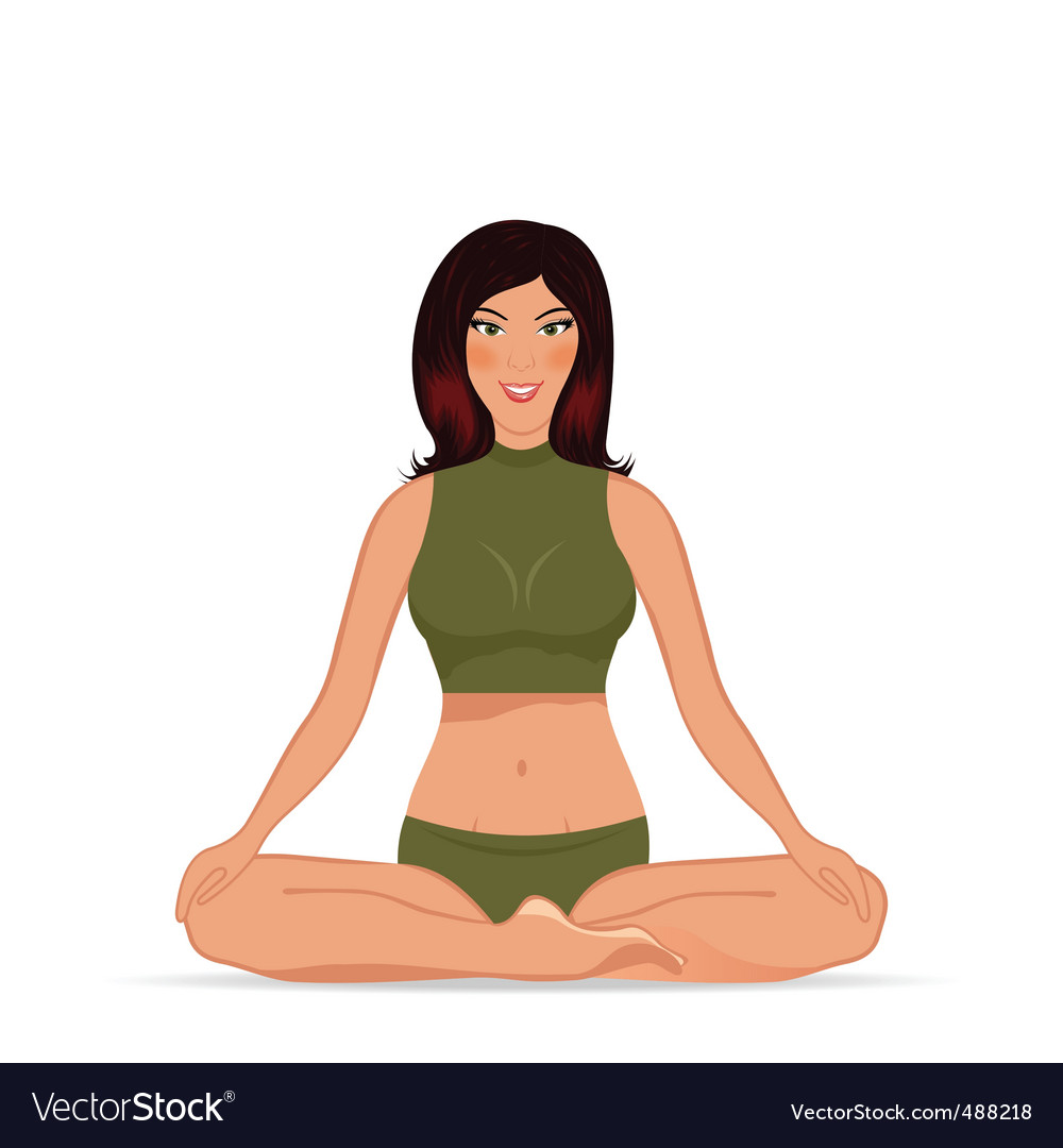 Young woman doing yoga exercise vector | Price: 1 Credit (USD $1)