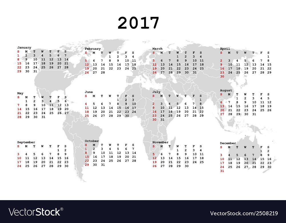 2017 calendar for agenda with world map vector | Price: 1 Credit (USD $1)