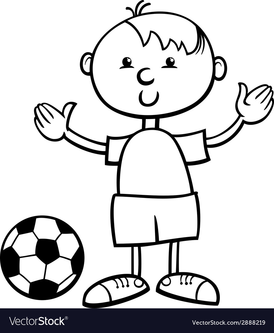 Boy with ball cartoon coloring page vector | Price: 1 Credit (USD $1)