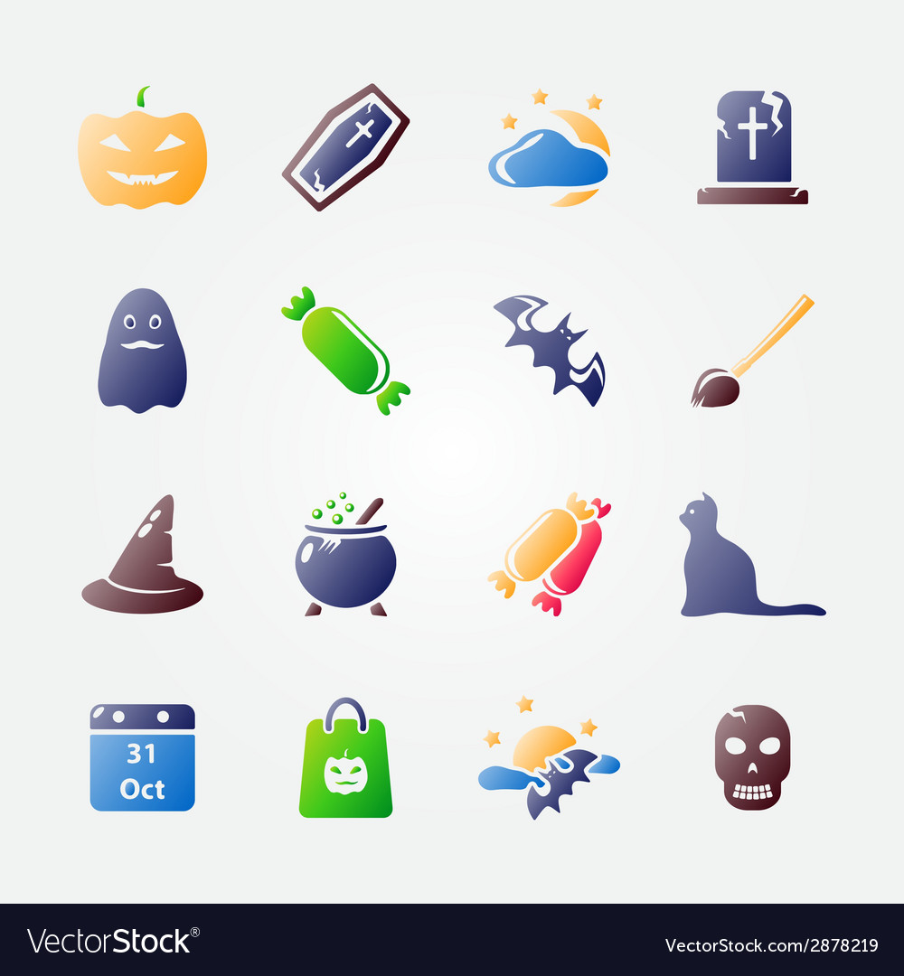 Bright halloween icon set vector | Price: 1 Credit (USD $1)