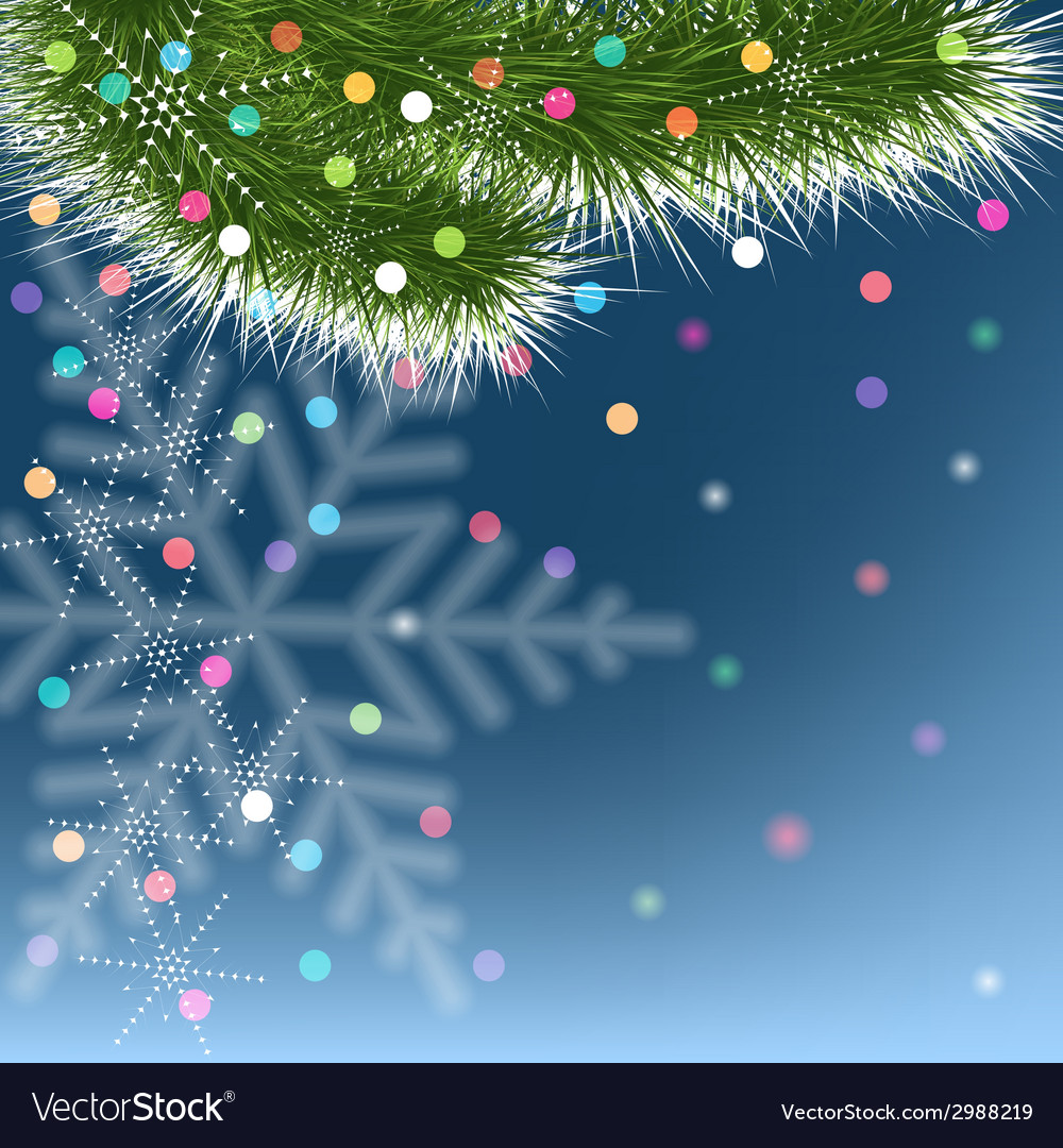 Christmas snowflakes and green fir tree on blue vector | Price: 1 Credit (USD $1)