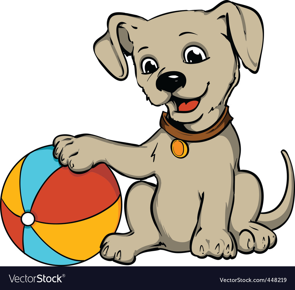 Dog with beach ball vector | Price: 3 Credit (USD $3)