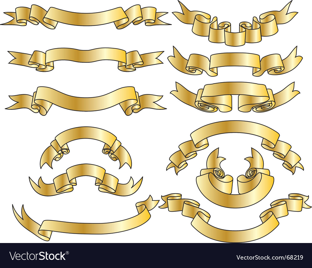 Gold ribbons set vector | Price: 1 Credit (USD $1)