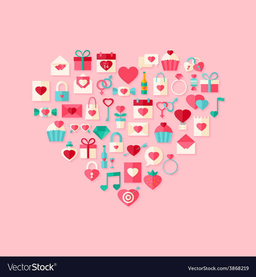 Heart shaped valentine day flat style icons with vector | Price: 1 Credit (USD $1)