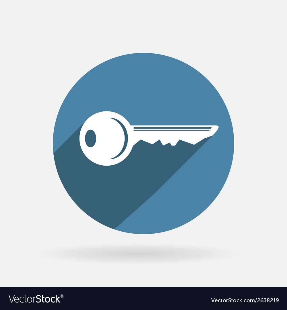 Key symbol icon circle blue icon with shadow vector | Price: 1 Credit (USD $1)