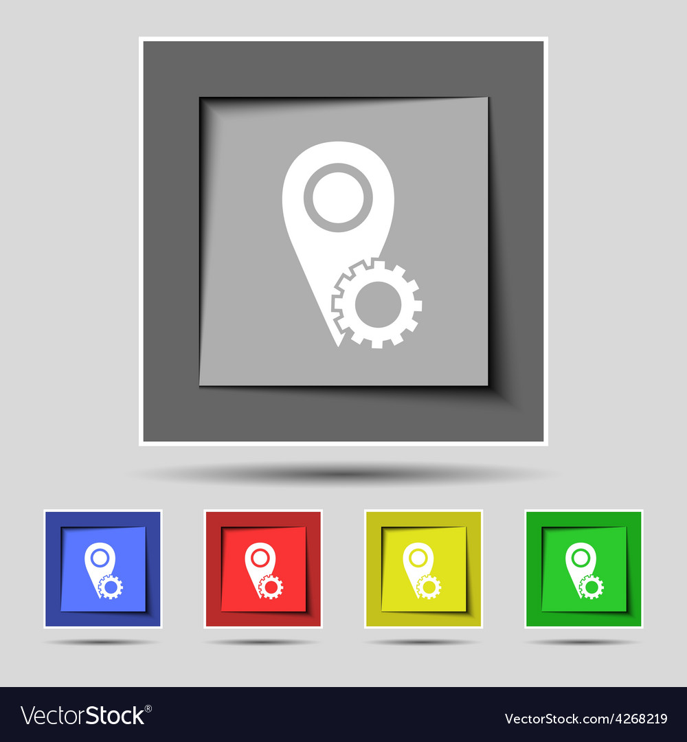 Map pointer setting icon sign on the original five vector | Price: 1 Credit (USD $1)