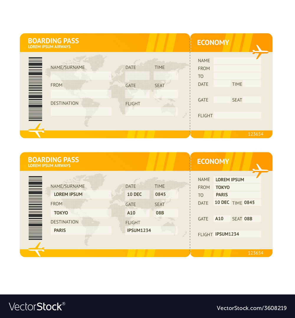 Modern airline boarding pass tickets vector | Price: 1 Credit (USD $1)