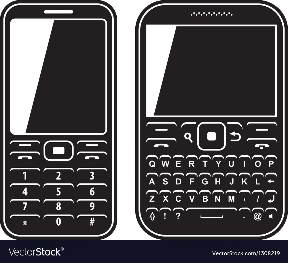 Modern mobile set phone with qwerty keyboard black vector | Price: 1 Credit (USD $1)