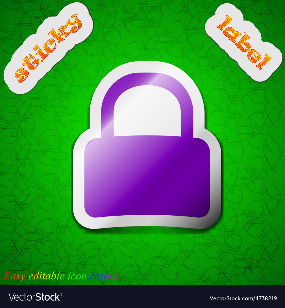 Pad lock icon sign symbol chic colored sticky vector | Price: 1 Credit (USD $1)