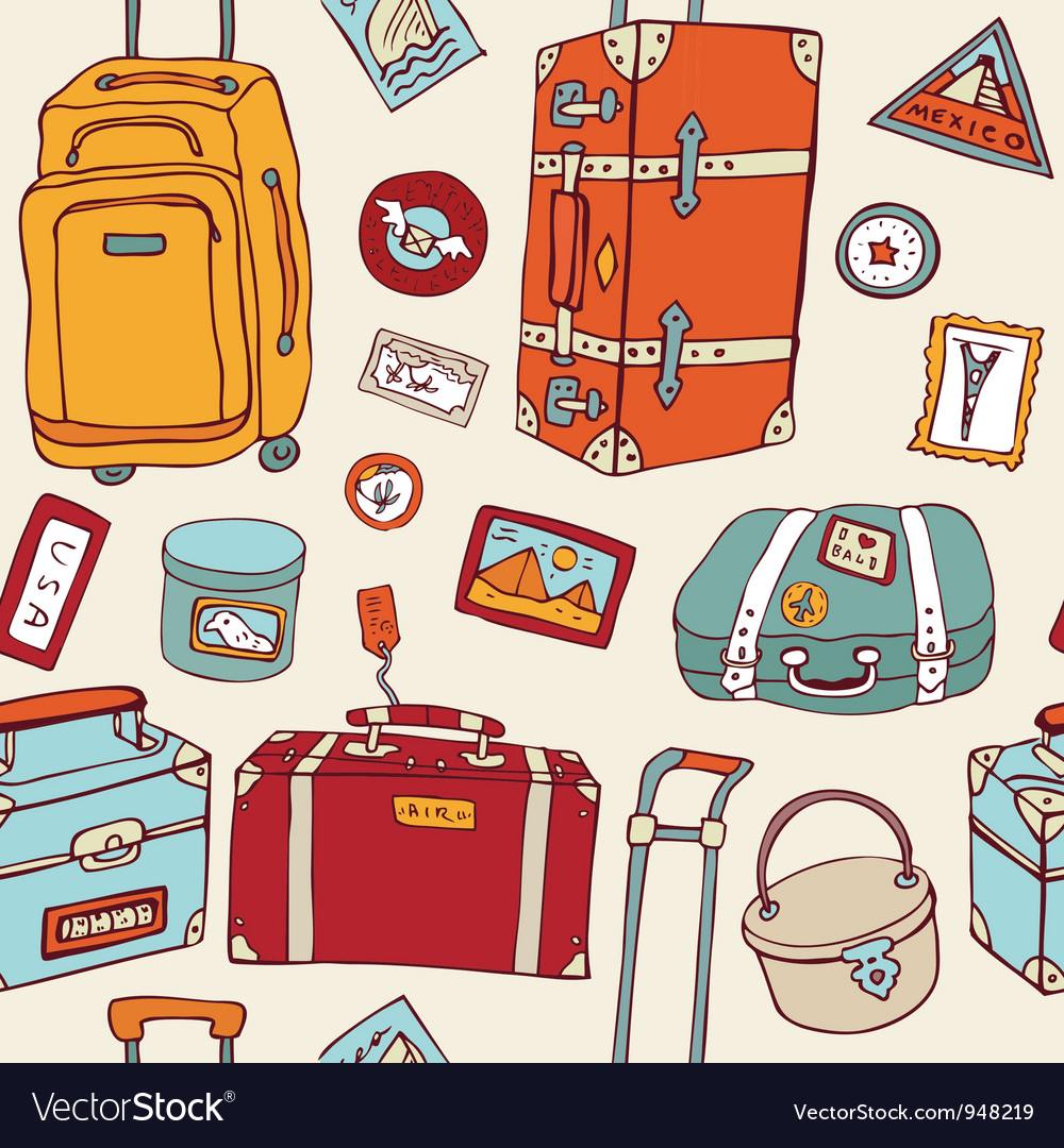Travel seamless background suitcases and bags vector | Price: 3 Credit (USD $3)
