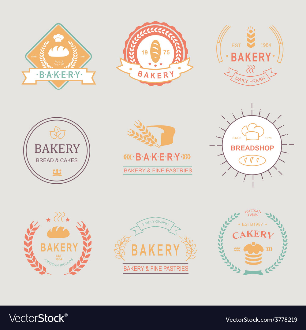 Vintage retro bakery badgeslabels logos  bread vector | Price: 1 Credit (USD $1)