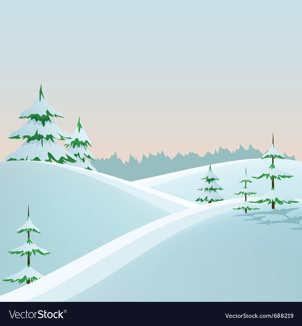 Winter styled landscape vector | Price: 1 Credit (USD $1)