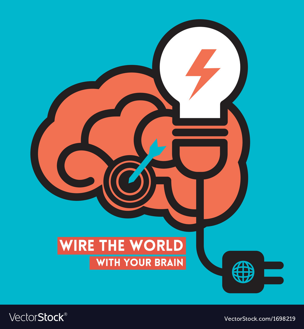 Wire the world creative brain icon with light bulb vector | Price: 1 Credit (USD $1)