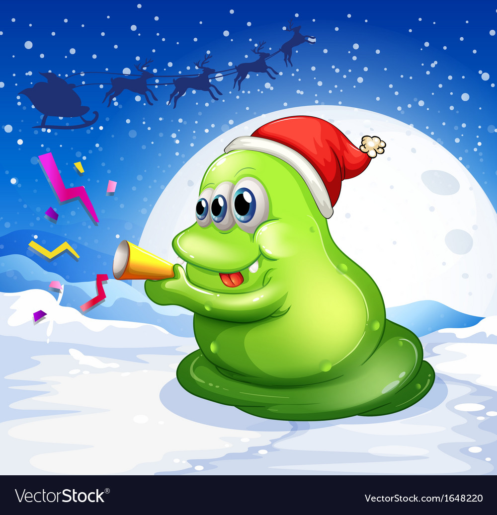 A monster with a red hat playing at the snowy land vector | Price: 1 Credit (USD $1)