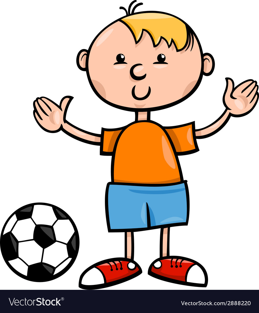 Boy with ball cartoon vector | Price: 1 Credit (USD $1)
