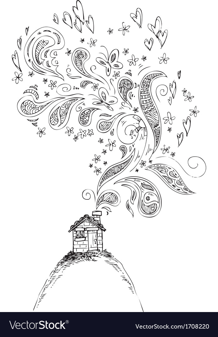 House with doodle smoke vector | Price: 1 Credit (USD $1)