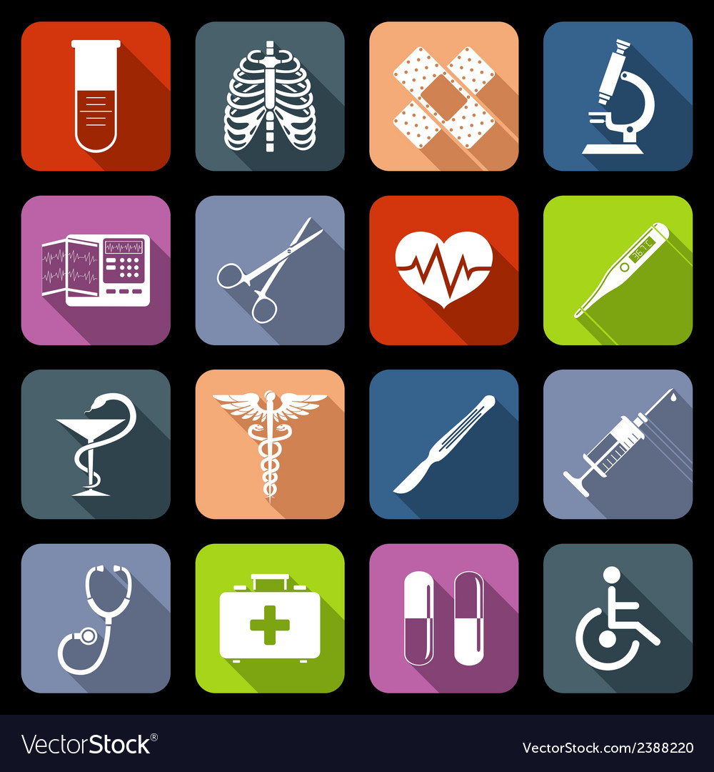 Medical icons flat vector | Price: 1 Credit (USD $1)