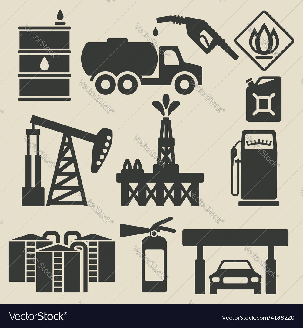 Oil production industry icons set vector | Price: 1 Credit (USD $1)